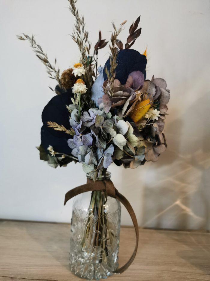 bouquet bleu fleurs sechées